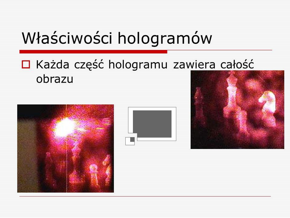 Właściwości hologramów Hologram jest skalowalny wraz z długością fali