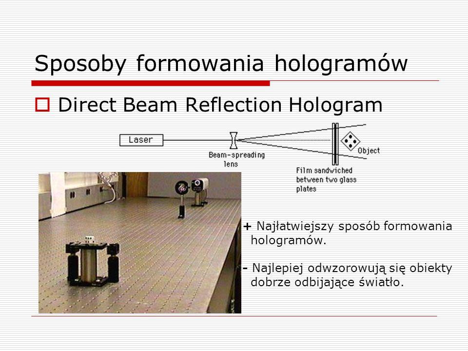 Sposoby formowania hologramów Direct Beam Reflection Hologram + Najłatwiejszy sposób formowania hologramów. - Najlepiej odwzorowują się obiekty dobrze