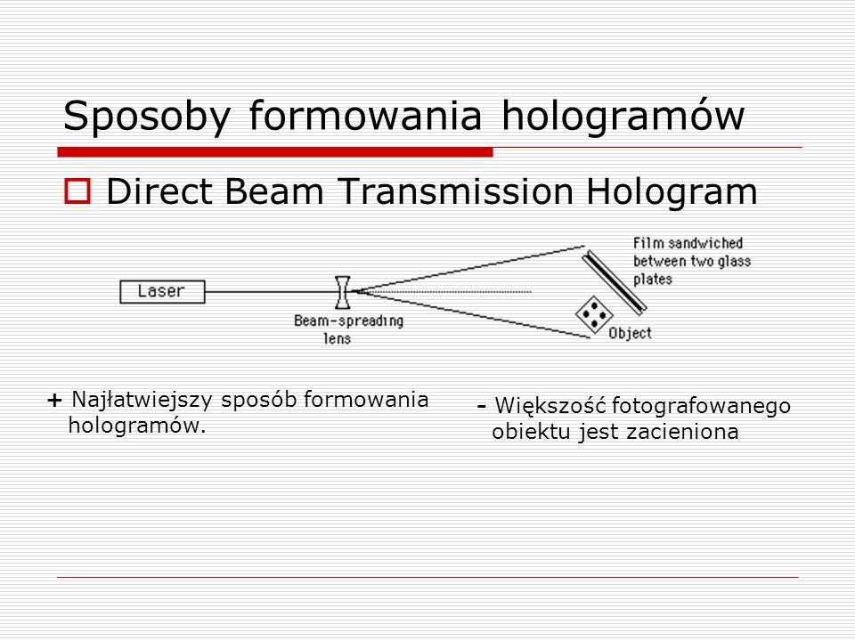 Sposoby formowania hologramów Direct Beam Transmission Hologram + Najłatwiejszy sposób formowania hologramów. - Większość fotografowanego obiektu jest