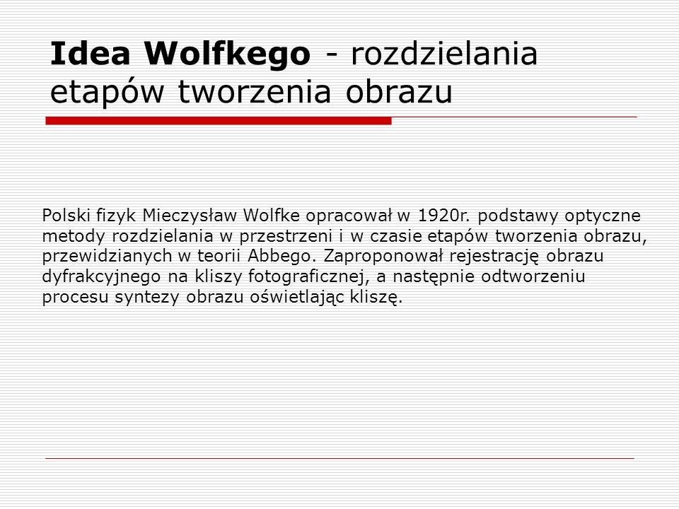 Idea Wolfkego - rozdzielania etapów tworzenia obrazu Polski fizyk Mieczysław Wolfke opracował w 1920r. podstawy optyczne metody rozdzielania w przestr
