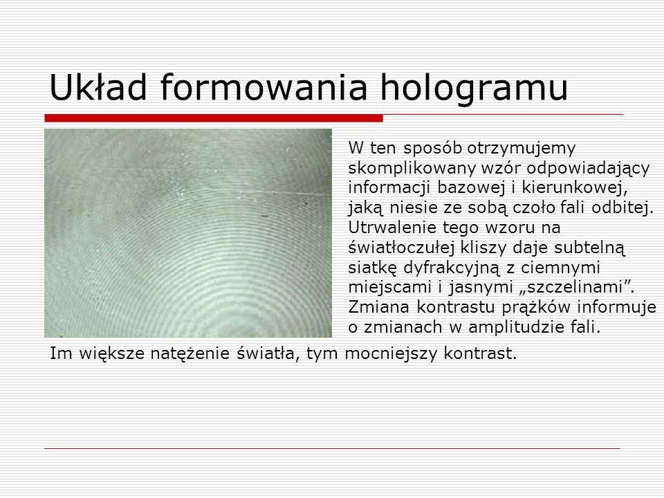 Układ formowania hologramu W ten sposób otrzymujemy skomplikowany wzór odpowiadający informacji bazowej i kierunkowej, jaką niesie ze sobą czoło fali