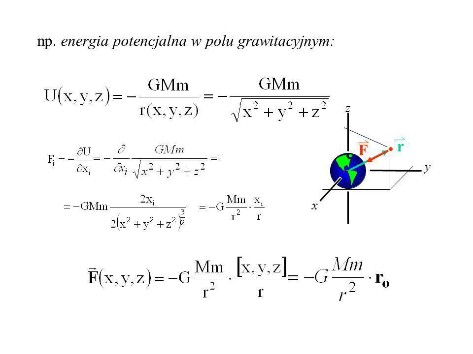 np. energia potencjalna w polu grawitacyjnym: x y z F r