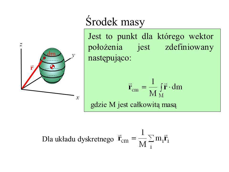 Środek masy x y z dm Jest to punkt dla którego wektor położenia jest zdefiniowany następująco: gdzie M jest całkowitą masą Dla układu dyskretnego r