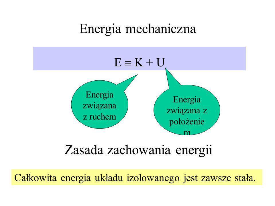 Energia mechaniczna E K + U Energia związana z ruchem Energia związana z położenie m Zasada zachowania energii Całkowita energia układu izolowanego je