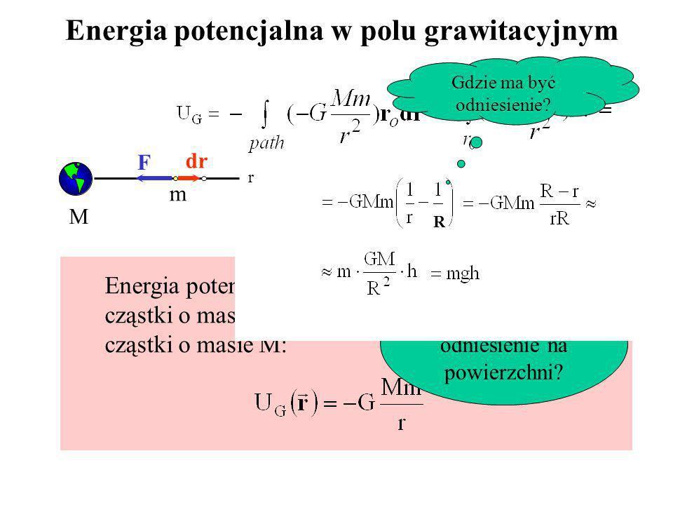 Energia potencjalna w polu grawitacyjnym M m r dr F Gdzie ma być odniesienie? Energia potencjalna w polu grawitacyjnym cząstki o masie m, położonej w