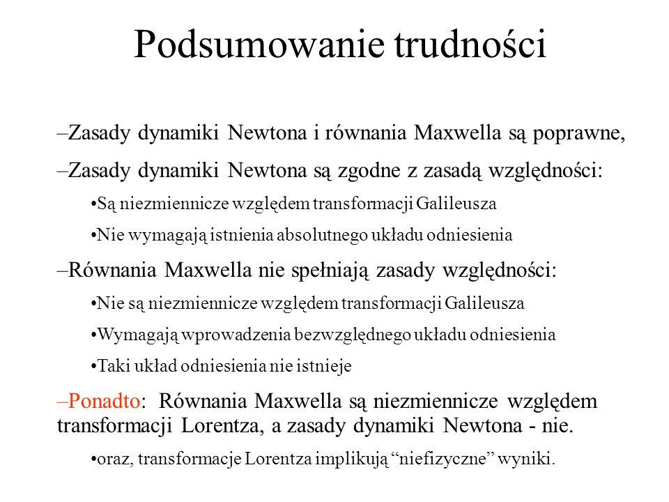 Podsumowanie trudności –Zasady dynamiki Newtona i równania Maxwella są poprawne, –Zasady dynamiki Newtona są zgodne z zasadą względności: Są niezmienn