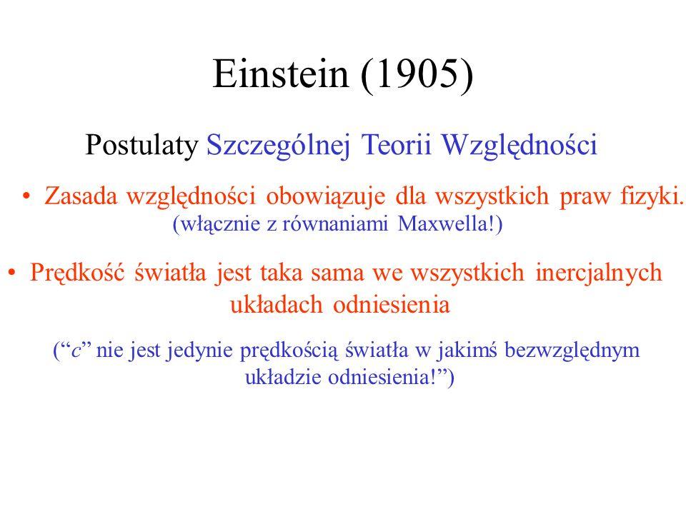 Einstein (1905) (włącznie z równaniami Maxwella!) (c nie jest jedynie prędkością światła w jakimś bezwzględnym układzie odniesienia!) Postulaty Szczeg