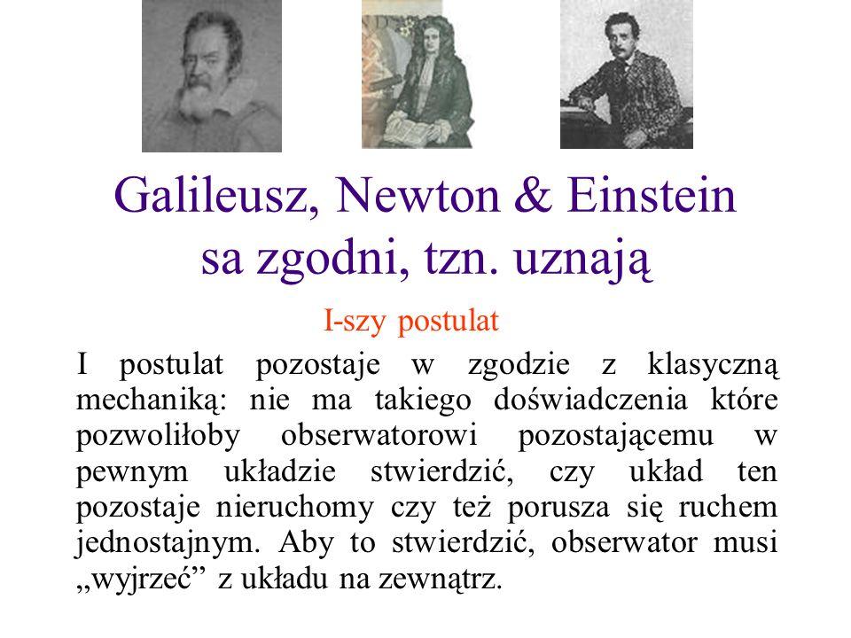 Galileusz, Newton & Einstein sa zgodni, tzn. uznają I-szy postulat I postulat pozostaje w zgodzie z klasyczną mechaniką: nie ma takiego doświadczenia