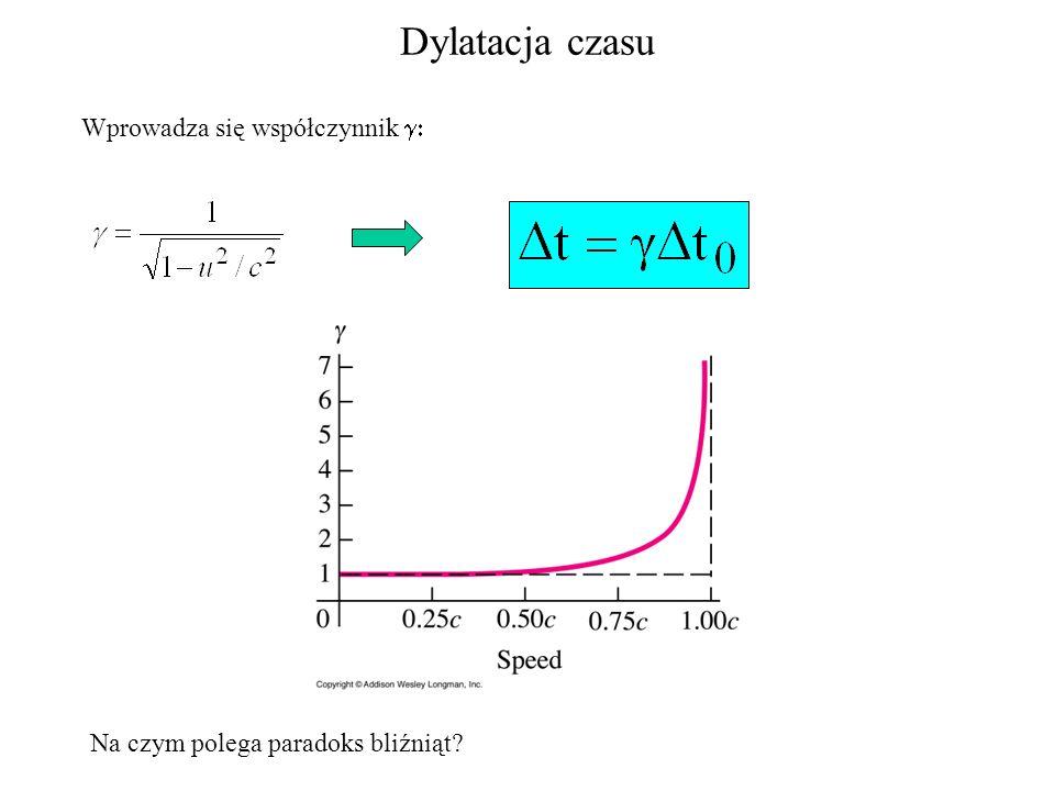 Dylatacja czasu Wprowadza się współczynnik Na czym polega paradoks bliźniąt?