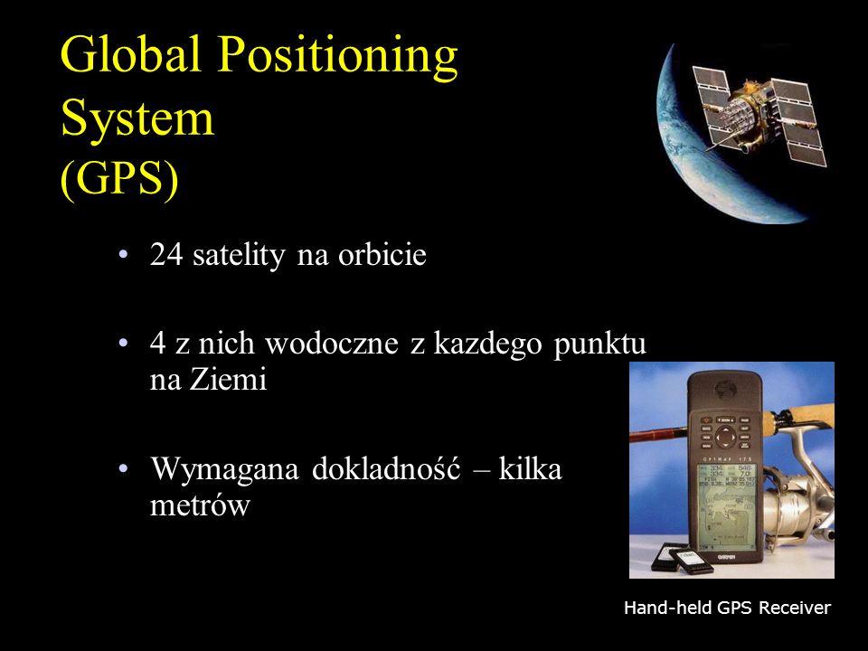 Global Positioning System (GPS) 24 satelity na orbicie 4 z nich wodoczne z kazdego punktu na Ziemi Wymagana dokladność – kilka metrów Hand-held GPS Re