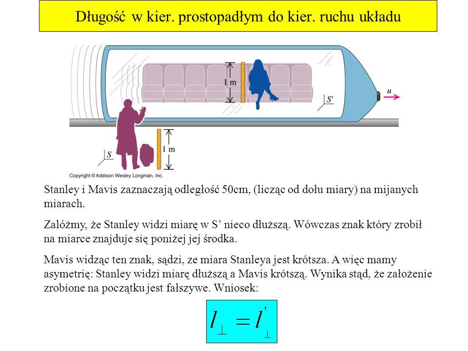 Długość w kier. prostopadłym do kier. ruchu układu Stanley i Mavis zaznaczają odległość 50cm, (licząc od dołu miary) na mijanych miarach. Zalóżmy, że