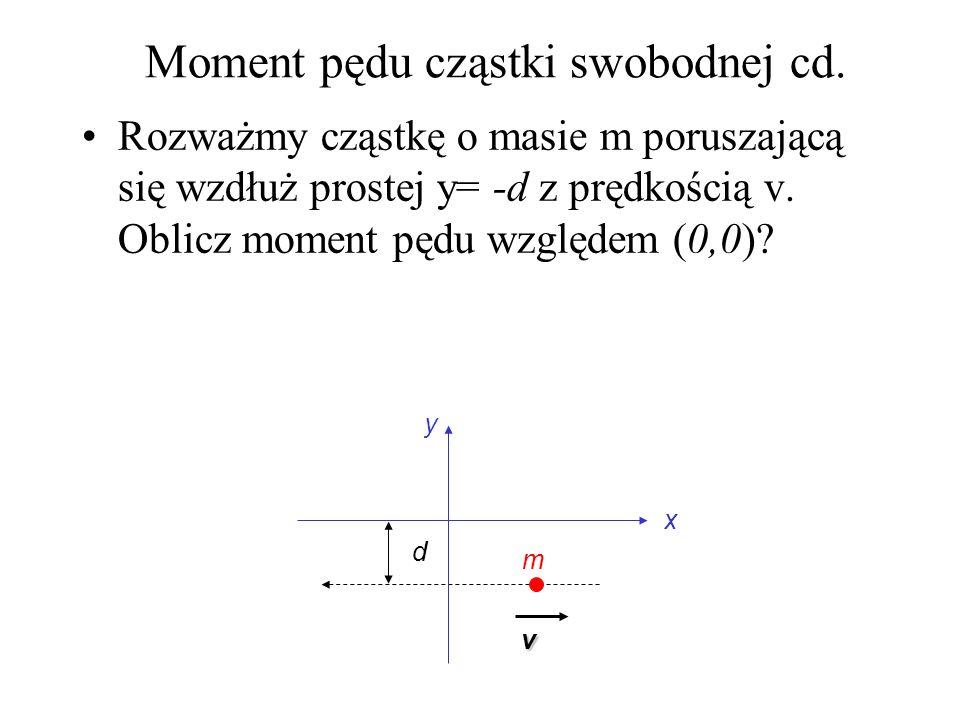 Moment pędu cząstki swobodnej cd. Rozważmy cząstkę o masie m poruszającą się wzdłuż prostej y= -d z prędkością v. Oblicz moment pędu względem (0,0)? x