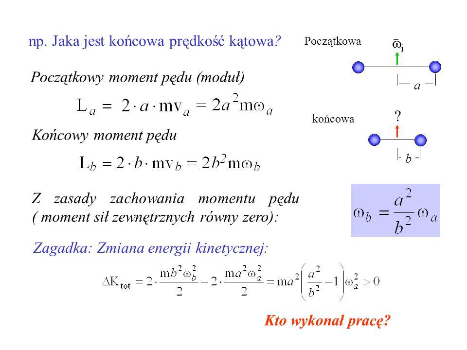 np. Jaka jest końcowa prędkość kątowa? a Początkowa b końcowa ? Początkowy moment pędu (moduł) Końcowy moment pędu Z zasady zachowania momentu pędu (