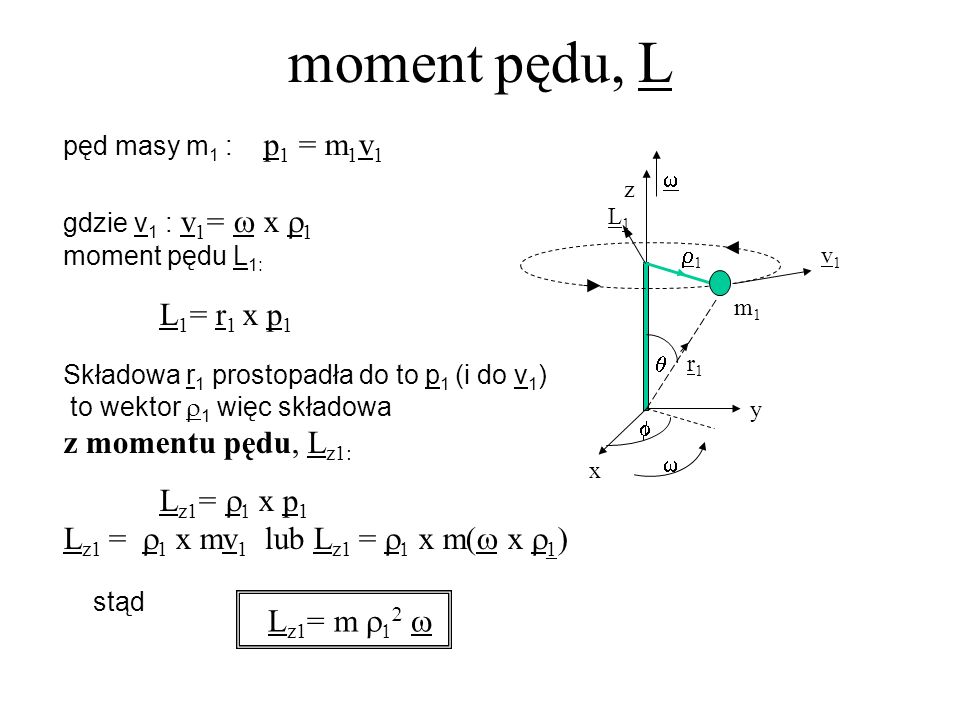 pęd masy m 1 : p 1 = m 1 v 1 gdzie v 1 : v 1 = x 1 moment pędu L 1: L 1 = r 1 x p 1 Składowa r 1 prostopadła do to p 1 (i do v 1 ) to wektor 1 więc sk