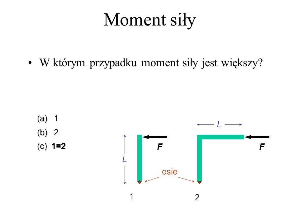 W którym przypadku moment siły jest większy? (a) (a) 1 (b) (b) 2 (c) 1=2 L L FF osie 1 2 Moment siły