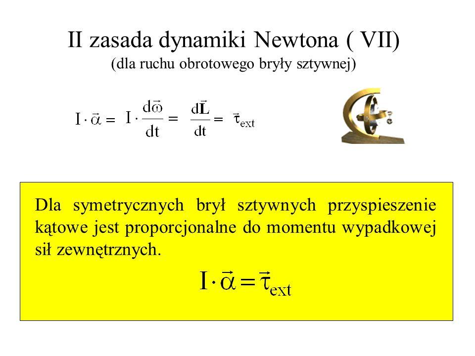 II zasada dynamiki Newtona ( VII) (dla ruchu obrotowego bryły sztywnej) Dla symetrycznych brył sztywnych przyspieszenie kątowe jest proporcjonalne do