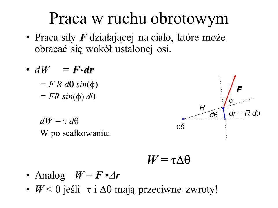 Praca w ruchu obrotowym FPraca siły F działającej na ciało, które może obracać się wokół ustalonej osi. FdrdW = F. dr = F R d sin( ) = FR sin( ) d dW