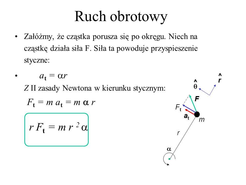 Ruch obrotowy rF t = mr 2 niech Moment siły: = rF t.