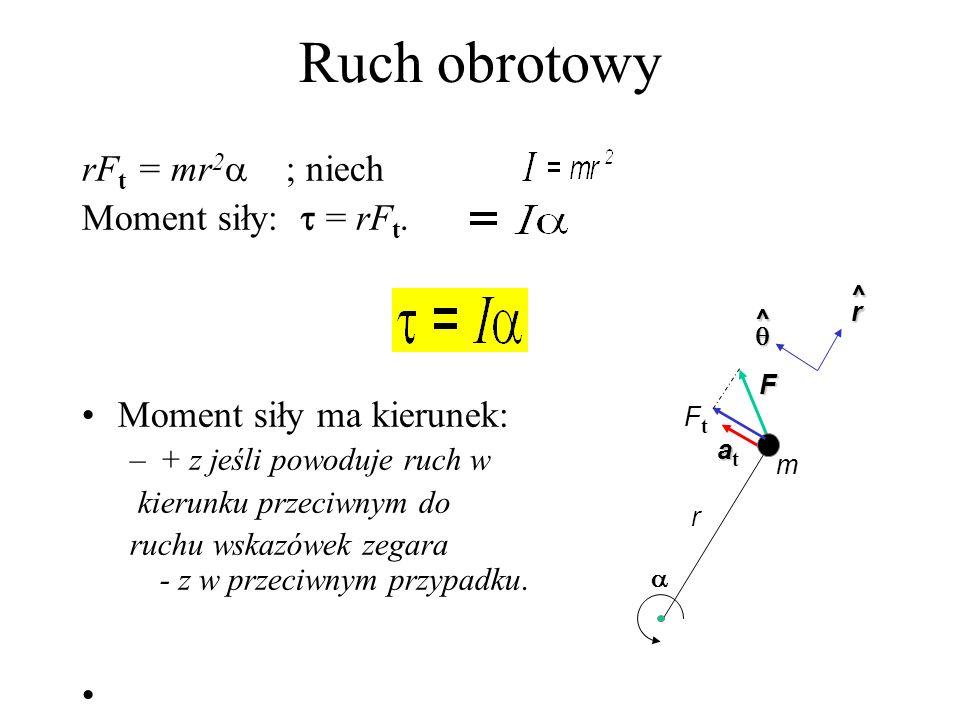 Środek masy Dla bryły sztywnej: y x dm r Dla bryły symetrycznej środek masy=środkowi symetrii gęstość,