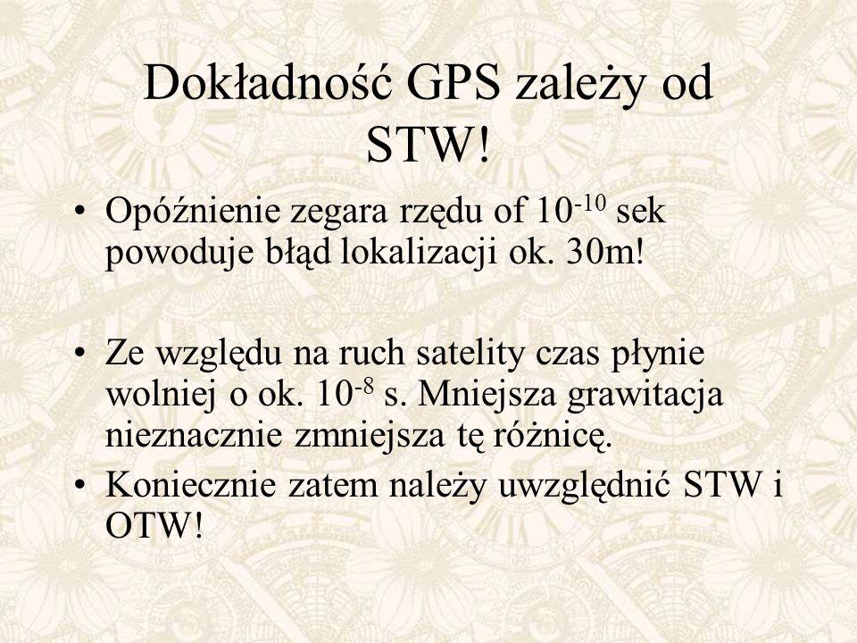 Dokładność GPS zależy od STW! Opóźnienie zegara rzędu of 10 -10 sek powoduje błąd lokalizacji ok. 30m! Ze względu na ruch satelity czas płynie wolniej