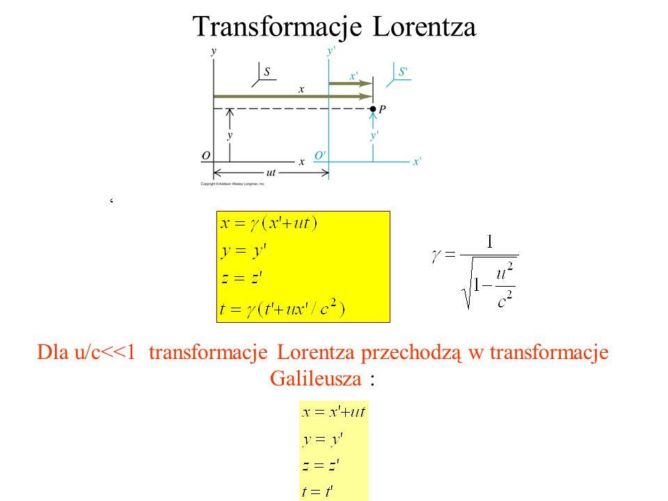 Transformacje Lorentza Dla u/c<<1 transformacje Lorentza przechodzą w transformacje Galileusza :