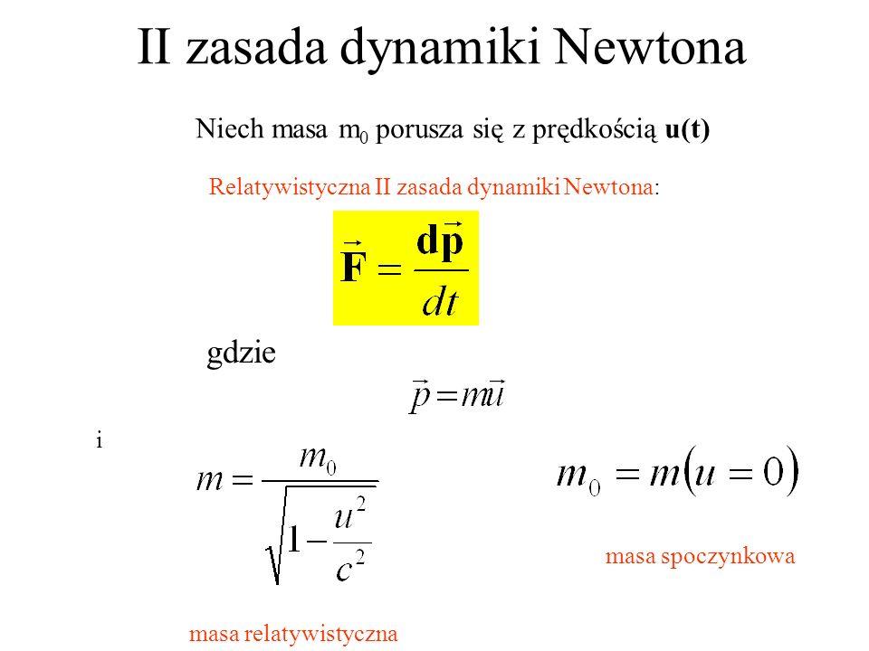 II zasada dynamiki Newtona Relatywistyczna II zasada dynamiki Newtona: gdzie i masa spoczynkowa masa relatywistyczna Niech masa m 0 porusza się z pręd