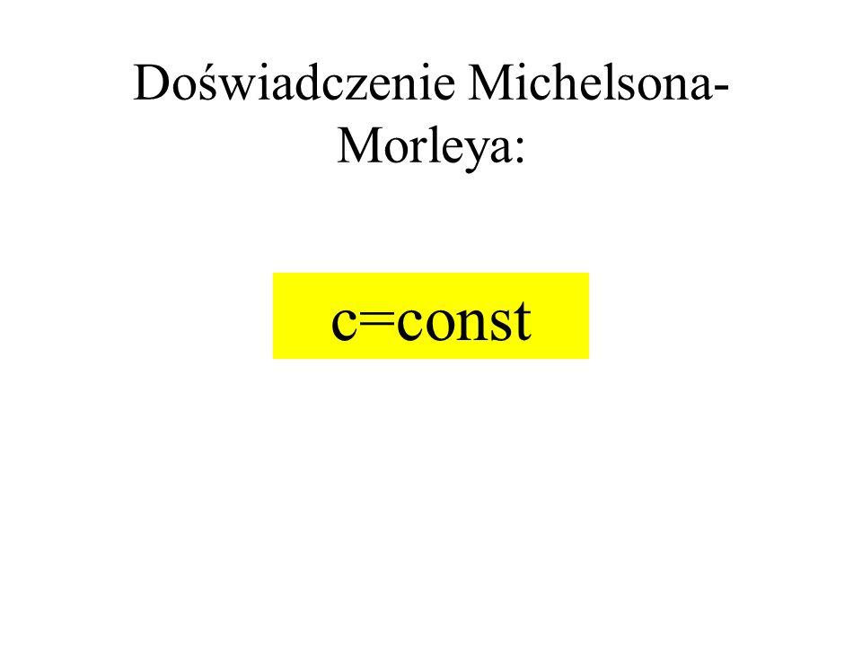Doświadczenie Michelsona- Morleya: c=const
