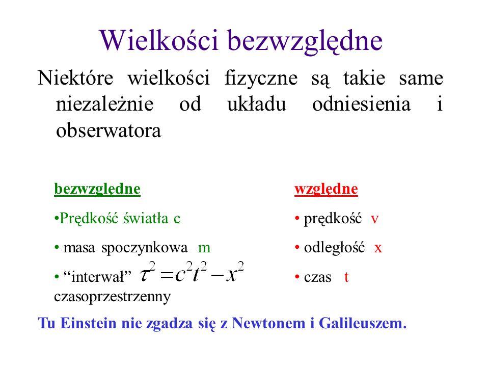 II zasada dynamiki Newtona Relatywistyczna II zasada dynamiki Newtona: gdzie i masa spoczynkowa masa relatywistyczna Niech masa m 0 porusza się z prędkością u(t)