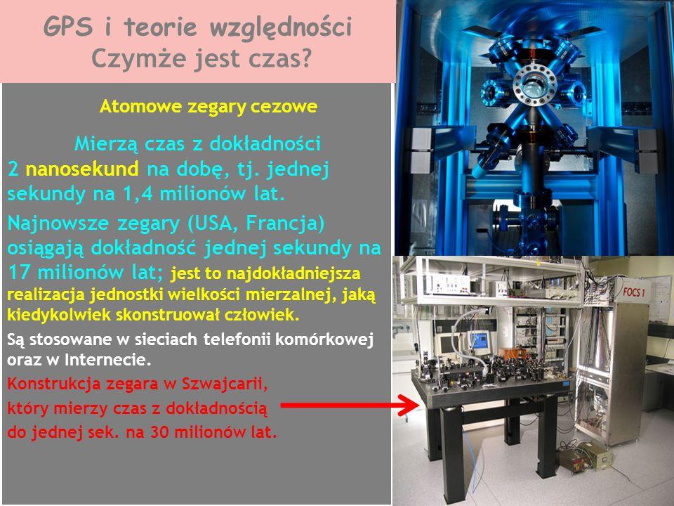 Atomowe zegary cezowe Mierzą czas z dokładności 2 nanosekund na dobę, tj. jednej sekundy na 1,4 milionów lat. Najnowsze zegary (USA, Francja) osiągają