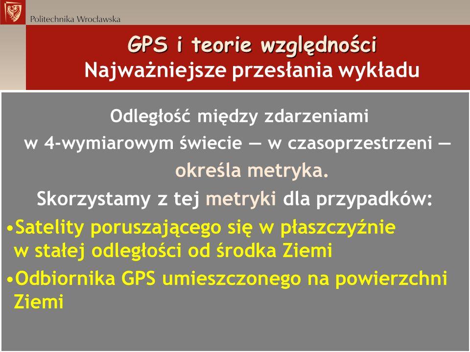 GPS i teorie względności GPS i teorie względności Najważniejsze przesłania wykładu Odległość między zdarzeniami w 4-wymiarowym świecie w czasoprzestrz
