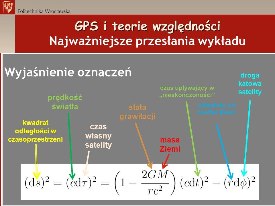 GPS i teorie względności GPS i teorie względności Najważniejsze przesłania wykładu Wyjaśnienie oznaczeń prędkość światła czas własny satelity kwadrat