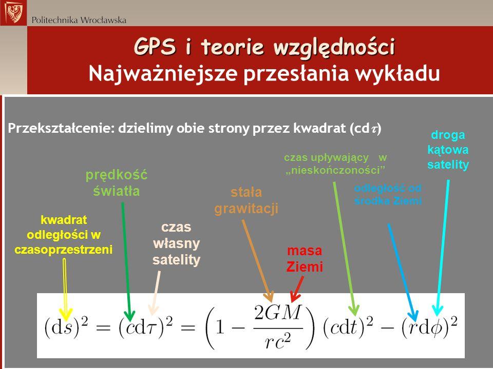 GPS i teorie względności GPS i teorie względności Najważniejsze przesłania wykładu Przekształcenie: dzielimy obie strony przez kwadrat (cd ) prędkość