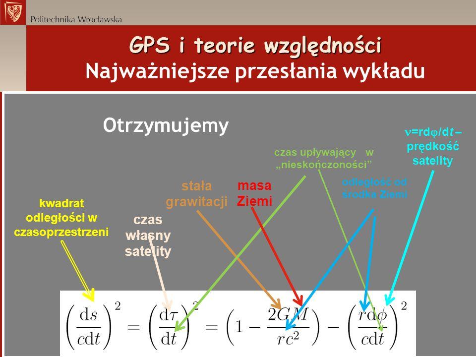 GPS i teorie względności GPS i teorie względności Najważniejsze przesłania wykładu Otrzymujemy czas własny satelity kwadrat odległości w czasoprzestrz
