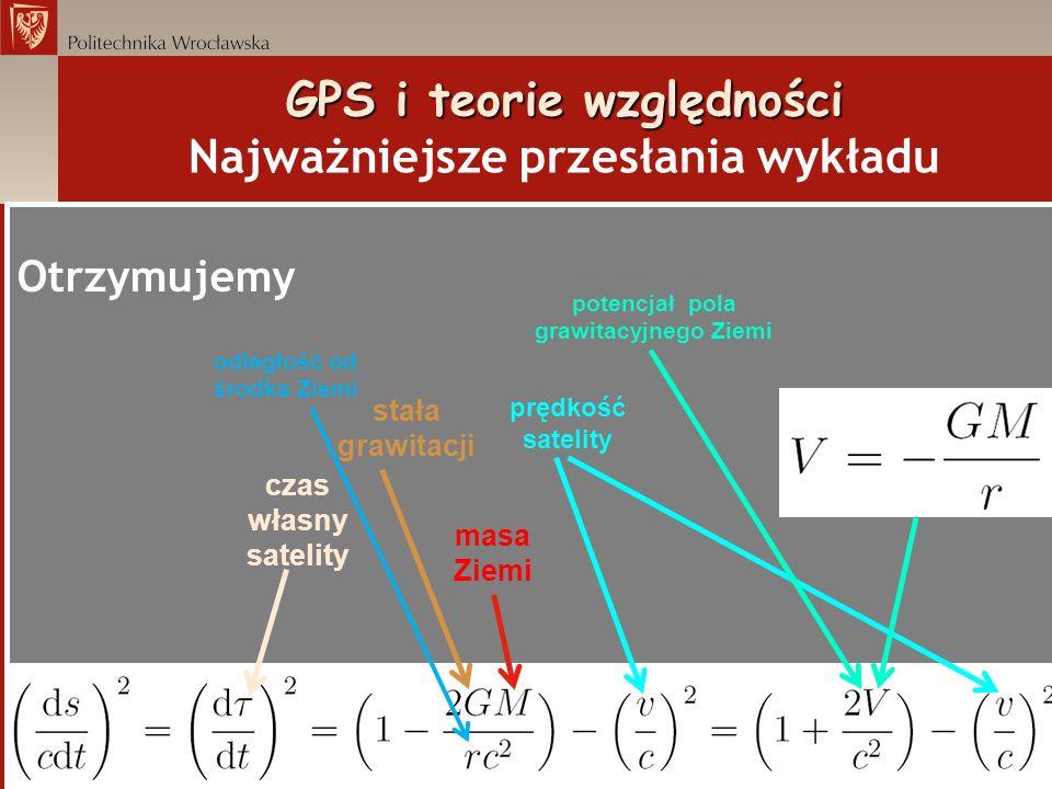 GPS i teorie względności GPS i teorie względności Najważniejsze przesłania wykładu Otrzymujemy czas własny satelity masa Ziemi stała grawitacji potenc