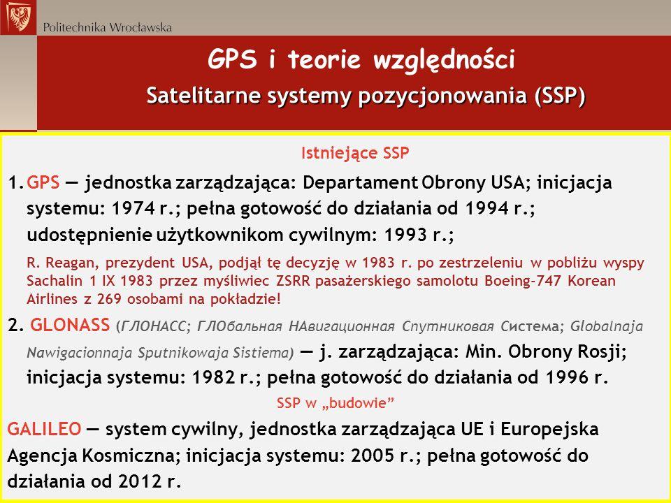 Satelitarne systemy pozycjonowania (SSP) GPS i teorie względności Satelitarne systemy pozycjonowania (SSP) Istniejące SSP 1.GPS jednostka zarządzająca