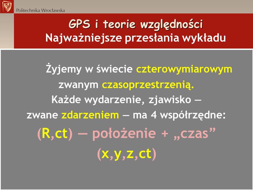 GPS i teorie względności GPS i teorie względności Najważniejsze przesłania wykładu Przekształcenie: dzielimy obie strony przez kwadrat (cd ) prędkość światła czas własny satelity kwadrat odległości w czasoprzestrzeni masa Ziemi stała grawitacji czas upływający w nieskończoności odległość od środka Ziemi droga kątowa satelity