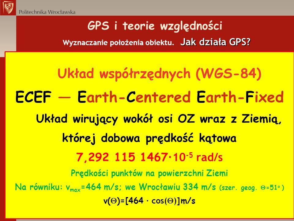 Jak działa GPS? GPS i teorie względności Wyznaczanie położenia obiektu. Jak działa GPS? Układ współrzędnych (WGS-84) ECEF Earth-Centered Earth-Fixed U