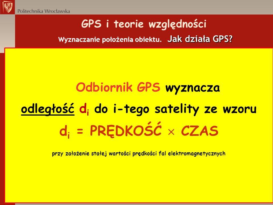 Jak działa GPS? GPS i teorie względności Wyznaczanie położenia obiektu. Jak działa GPS? Odbiornik GPS wyznacza odległość d i do i-tego satelity ze wzo