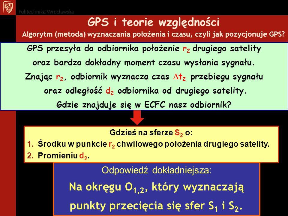 GPS i teorie względności Algorytm (metoda) wyznaczania położenia i czasu, czyli jak pozycjonuje GPS? Gdzieś na sferze S 2 o: 1.Środku w punkcie r 2 ch