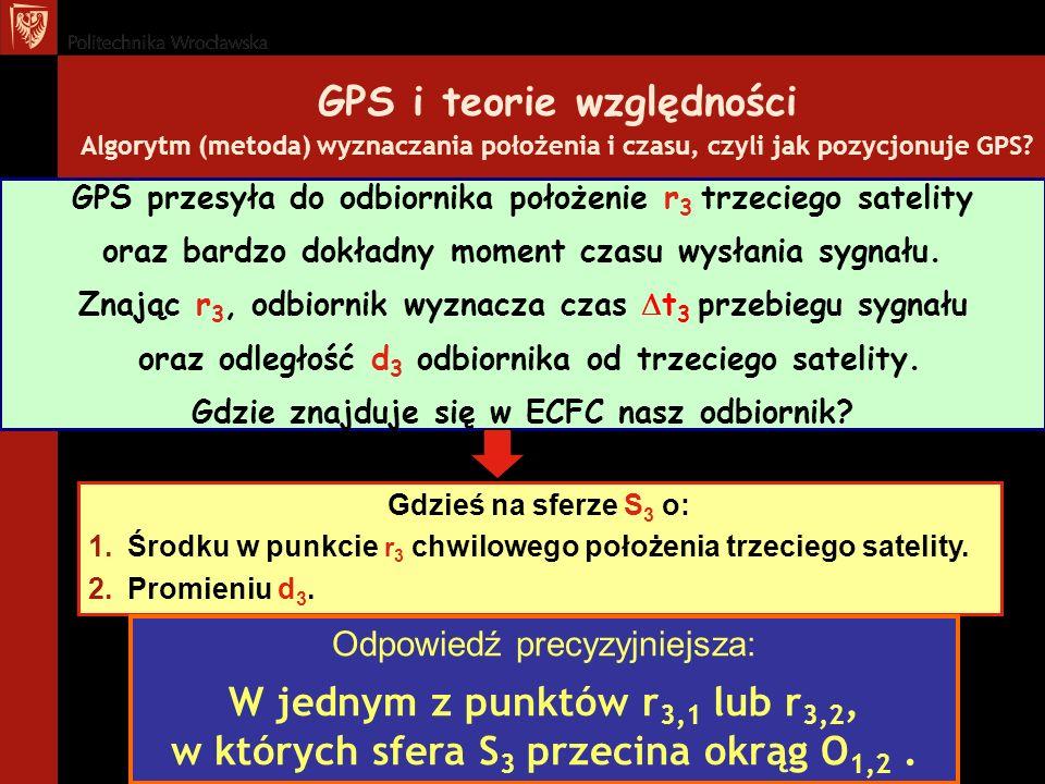 GPS i teorie względności Algorytm (metoda) wyznaczania położenia i czasu, czyli jak pozycjonuje GPS? Gdzieś na sferze S 3 o: 1.Środku w punkcie r 3 ch