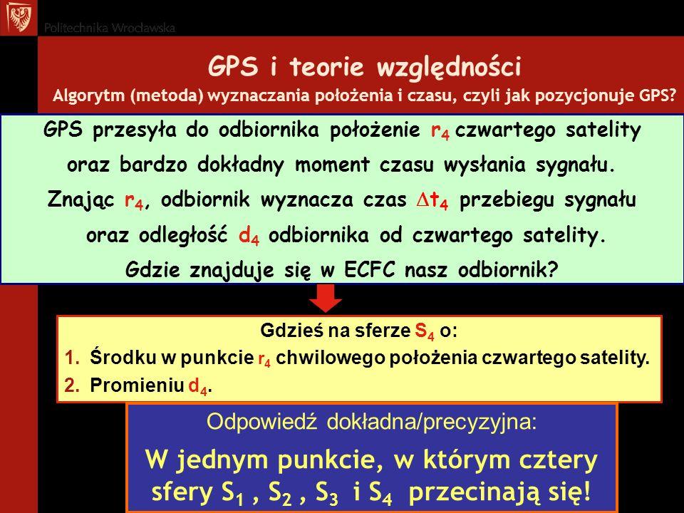 GPS i teorie względności Algorytm (metoda) wyznaczania położenia i czasu, czyli jak pozycjonuje GPS? Gdzieś na sferze S 4 o: 1.Środku w punkcie r 4 ch