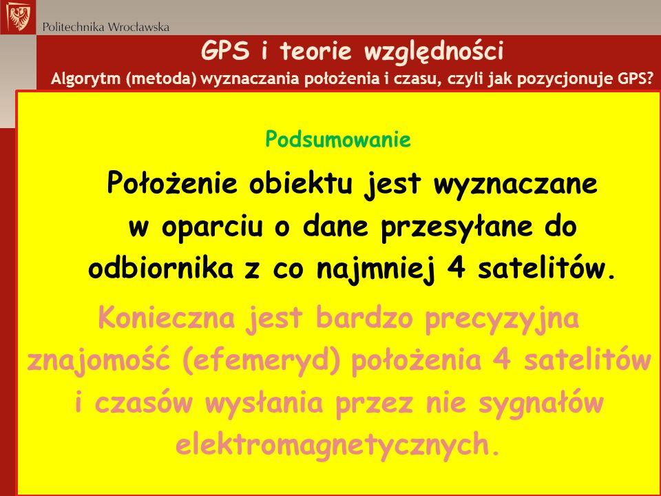 GPS i teorie względności Algorytm (metoda) wyznaczania położenia i czasu, czyli jak pozycjonuje GPS? Podsumowanie Położenie obiektu jest wyznaczane w