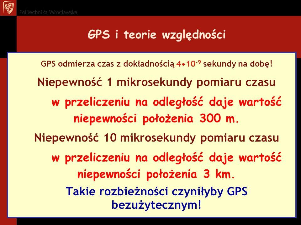 GPS i teorie względności GPS odmierza czas z dokładnością 410 -9 sekundy na dobę! Niepewność 1 mikrosekundy pomiaru czasu w przeliczeniu na odległość