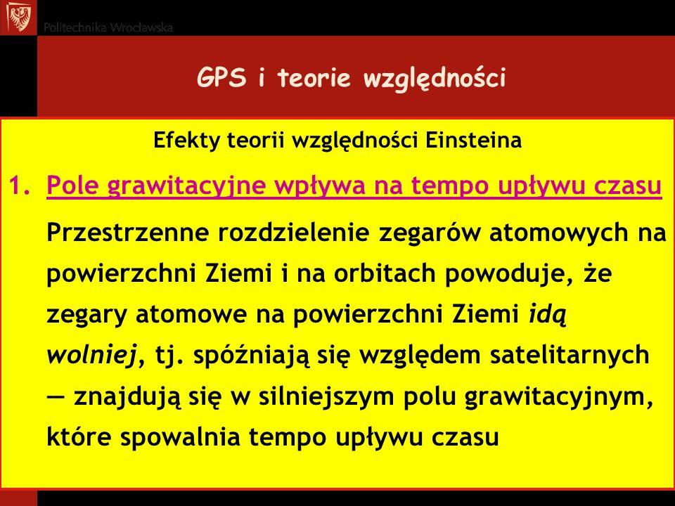 GPS i teorie względności Efekty teorii względności Einsteina 1.Pole grawitacyjne wpływa na tempo upływu czasu Przestrzenne rozdzielenie zegarów atomow