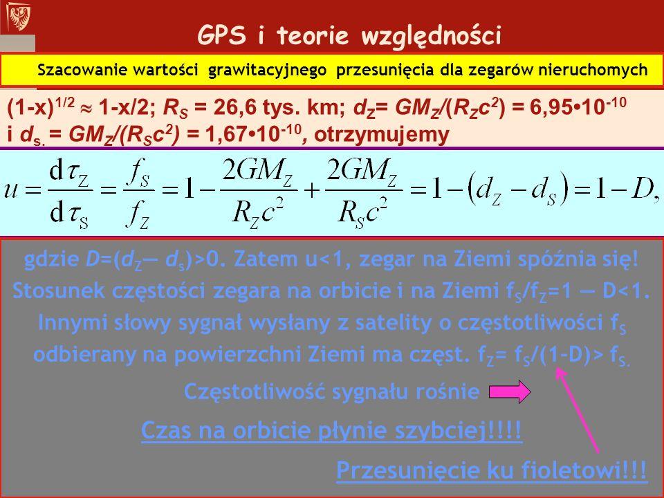 GPS i teorie względności Szacowanie wartości grawitacyjnego przesunięcia dla zegarów nieruchomych (1-x) 1/2 1-x/2; R S = 26,6 tys. km; d Z = GM Z /(R