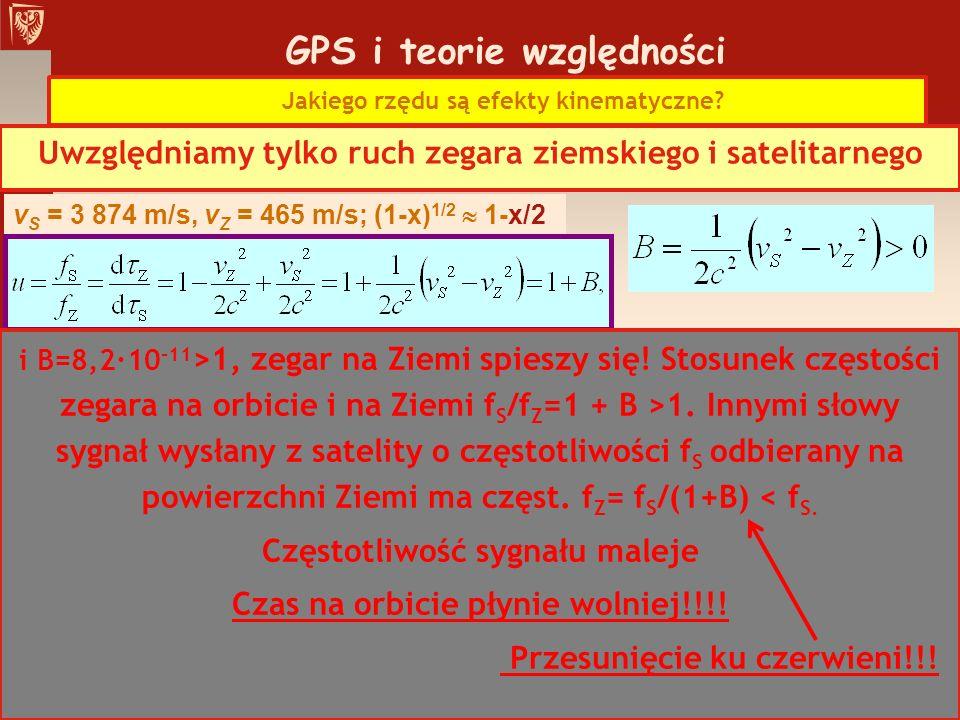 GPS i teorie względności Jakiego rzędu są efekty kinematyczne? Uwzględniamy tylko ruch zegara ziemskiego i satelitarnego v S = 3 874 m/s, v Z = 465 m/