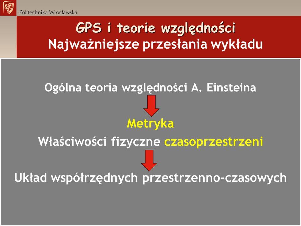 GPS i teorie względności Metryka Schwarzschilda gdzie = G M Z /r jest potencjałem Newtona pola grawitacyjnego Ziemi, t czasem mierzonym w inercjalnym układzie odniesienia umieszczonym w nieskończoności, prędkością styczną obiektu na orbicie kołowej; ds to przedział czasoprzestrzenny, c prędkość światła.
