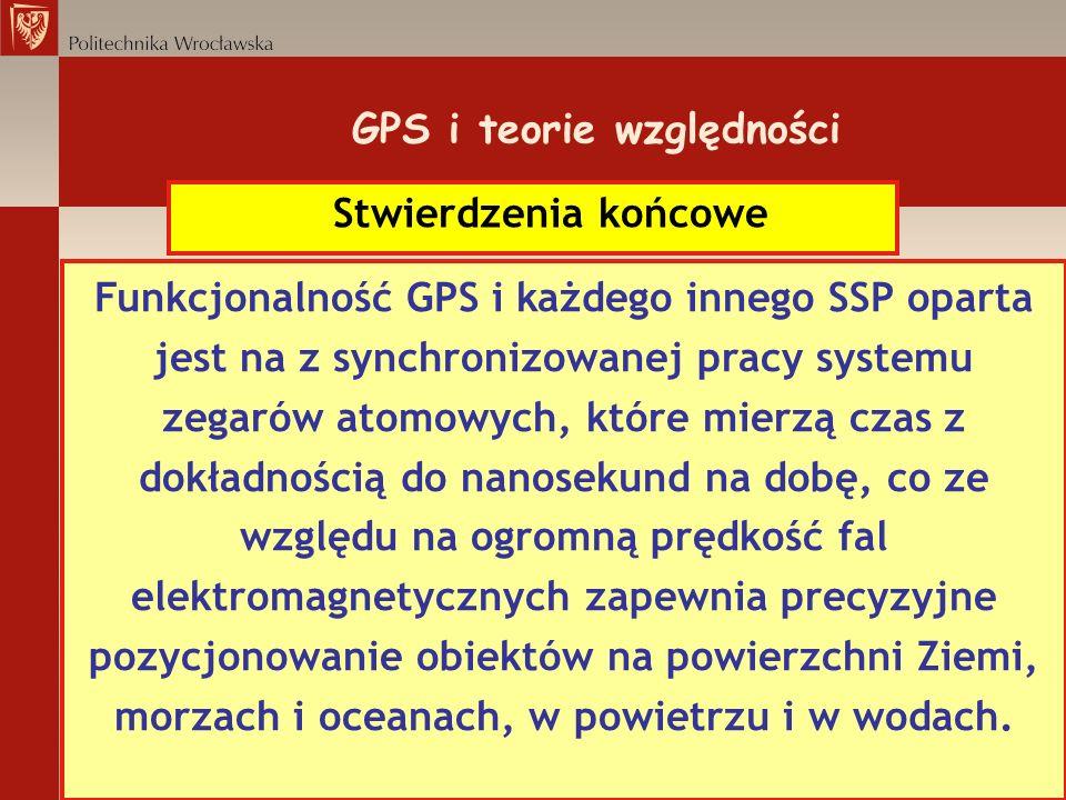 GPS i teorie względności Stwierdzenia końcowe Funkcjonalność GPS i każdego innego SSP oparta jest na z synchronizowanej pracy systemu zegarów atomowyc