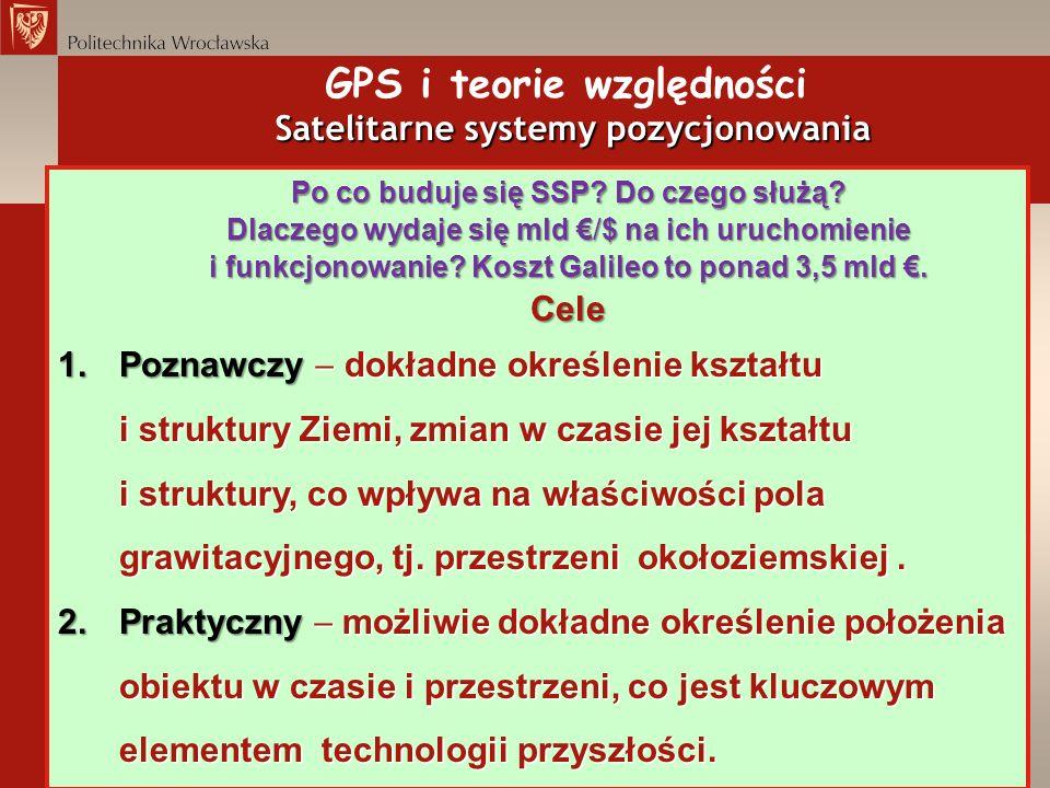 Satelitarne systemy pozycjonowania GPS i teorie względności Satelitarne systemy pozycjonowania Po co buduje się SSP? Do czego służą? Dlaczego wydaje s