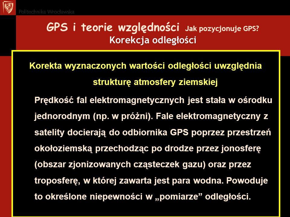 Korekcja odległości GPS i teorie względności Jak pozycjonuje GPS? Korekcja odległości Korekta wyznaczonych wartości odległości uwzględnia strukturę at